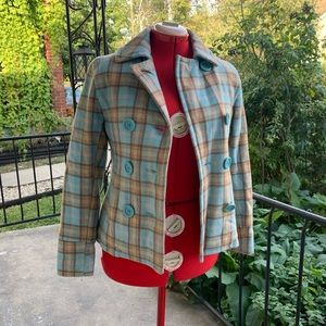 American Eagle Outfitters Early 2000 Plaid Peacoat